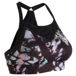 Women's Light-Support Fitness Sports Bra - Black Print