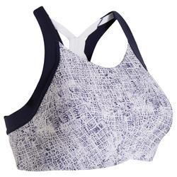 Women's Mid-Support Fitness Sports Bra - White/Blue Print
