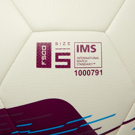 Ballon de football Hybride F500 taille 5 blanc