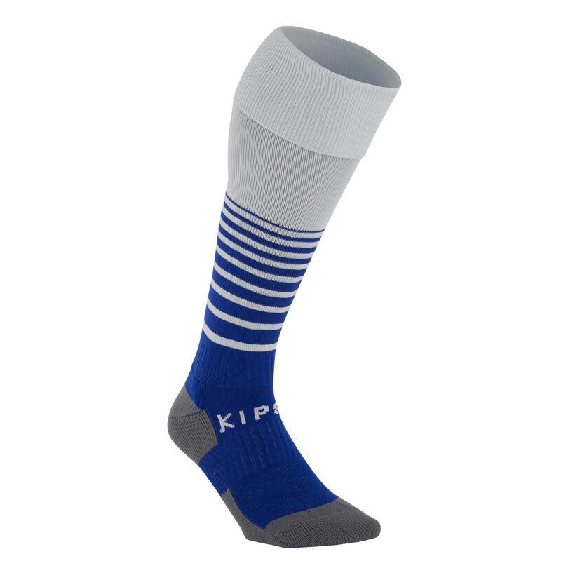 Chaussettes de football TRAXIUM rayées gris et bleu