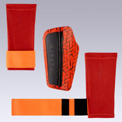 Protège-tibias de football adulte 540 TRAXIUM rouge