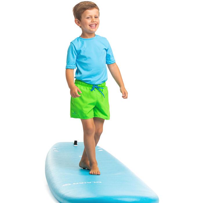 Uv-werend zwemshirt met korte mouwen voor kinderen die surfen blauw