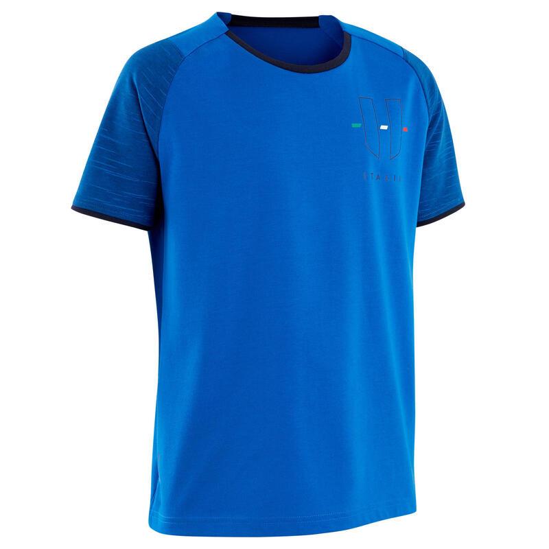 Camiseta Italia Kipsta FF100 niños azul