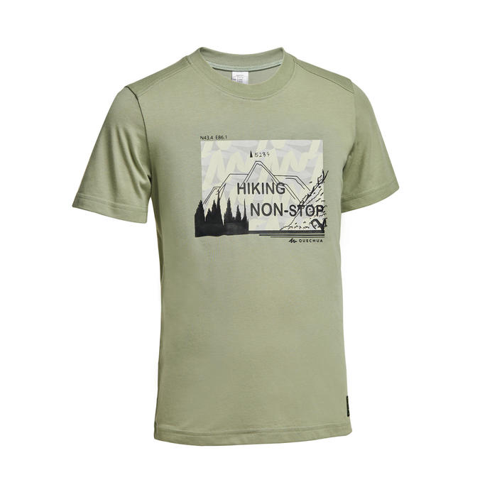 Kids' Hiking T-Shirt MH100 - Green