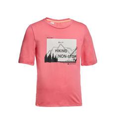 兒童款健行T恤 MH100-粉紅色