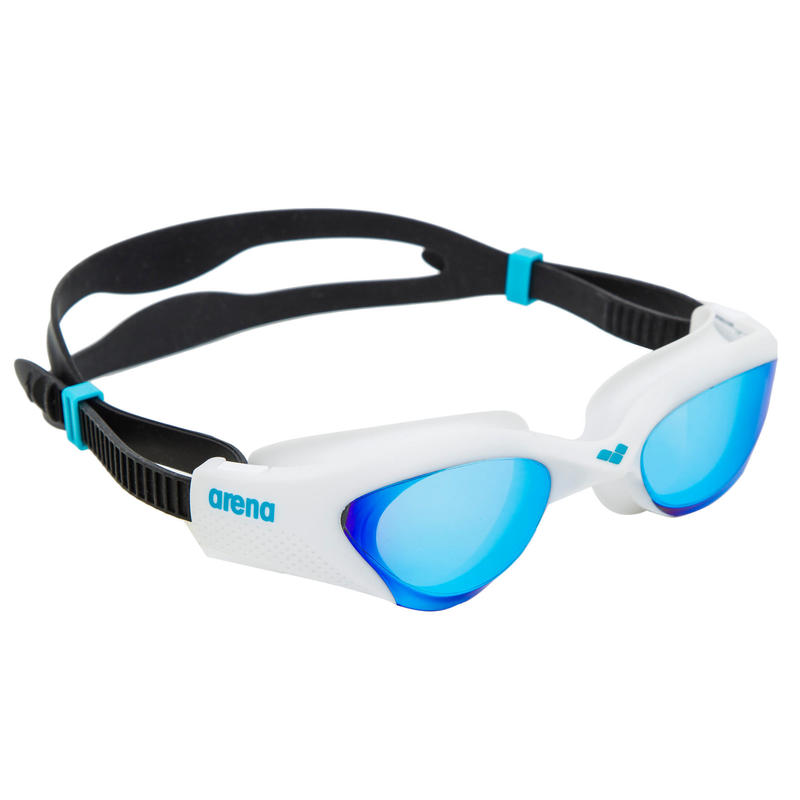 Occhialini nuoto THE ONE blu bianchi lenti a specchio