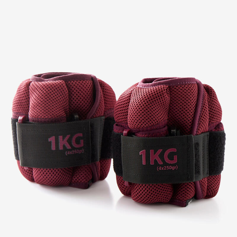 Pesas Tobilleras Lastres Modulables Fitness 1 kg Burdeos