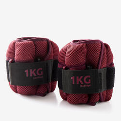 Verstelbare pols- en enkelgewichten voor fitness 1 kg bordeaux per paar
