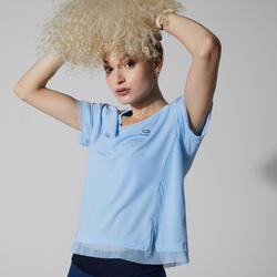 女款跑步T恤RUN FEEL - 藍色/淡紫色