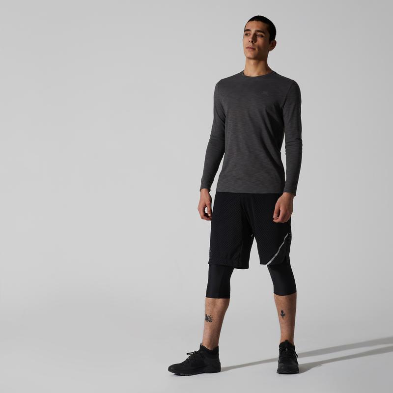 เสื้อยืดแขนยาวผู้ชายสำหรับใส่วิ่งรุ่น RUN DRY+ (สีเทา)
