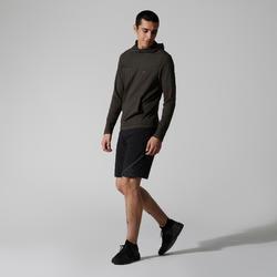 Hardloopshirt met capuchon voor heren Run Dry kaki