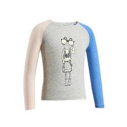 兒童款抗UV長袖健行T恤MH15-灰色/粉紅色