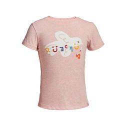 兒童款健行T恤MH100-淺粉色