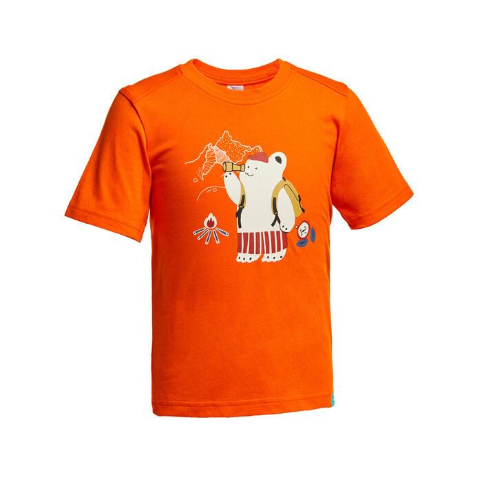 Kids' Hiking T-shirt MH100 - Tangerine