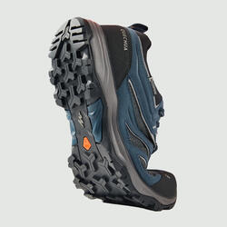 Men's waterproof mountain hiking shoes - MH100 Blue/Grey