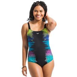 Badpak voor dames voor aquagym Naomi Wing back zwart