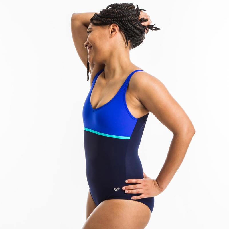 Women's One-piece aquafitness Mizuki back clip U Blue