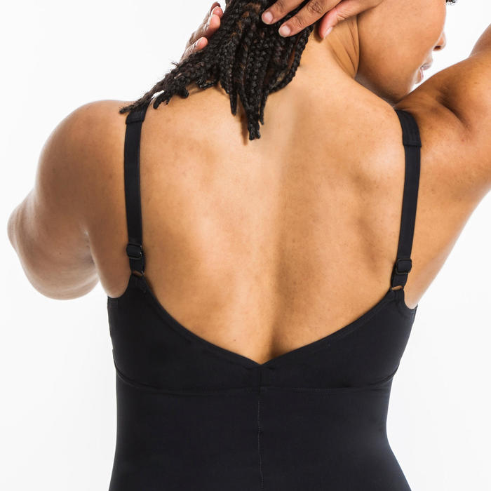 Maillot de bain une pièce d'Aquagym femme Hina wing back noir