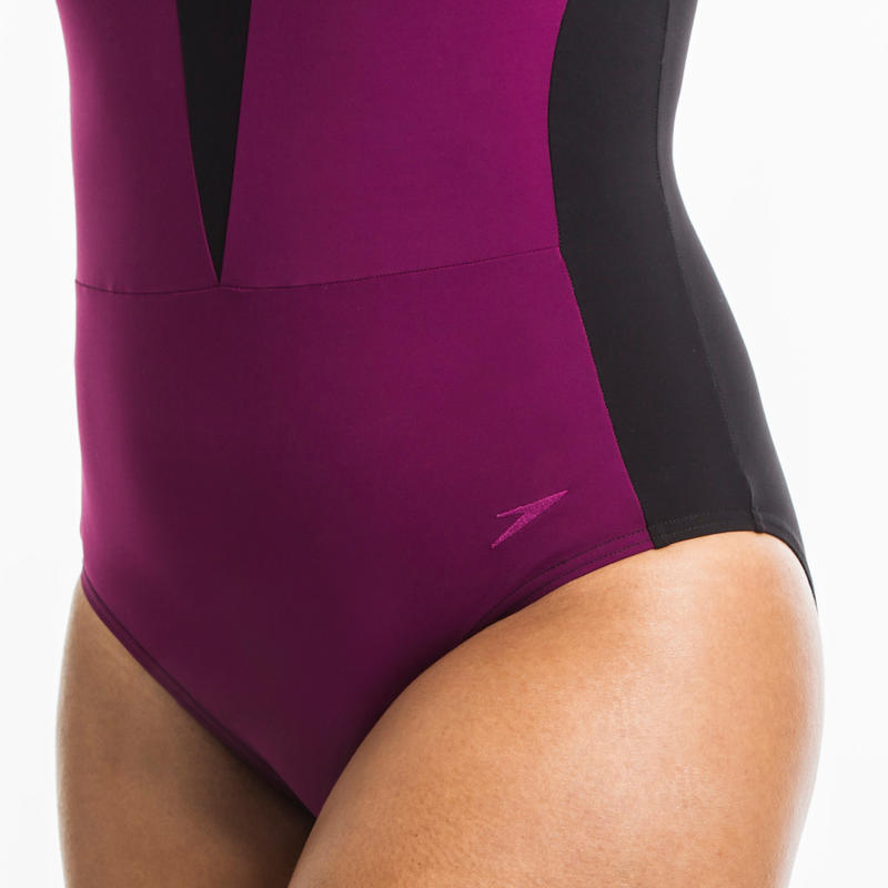 Women's aquafitness one-piece Opallux swimsuit - Black