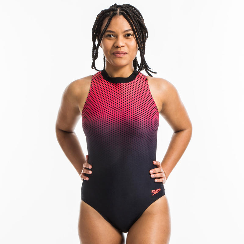 Women's aquafitness Hydrasuit one-piece swimsuit - Phoenix red black