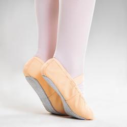 Demi-pointes voor ballet volledige zool canvas zalmroze maat 25-40