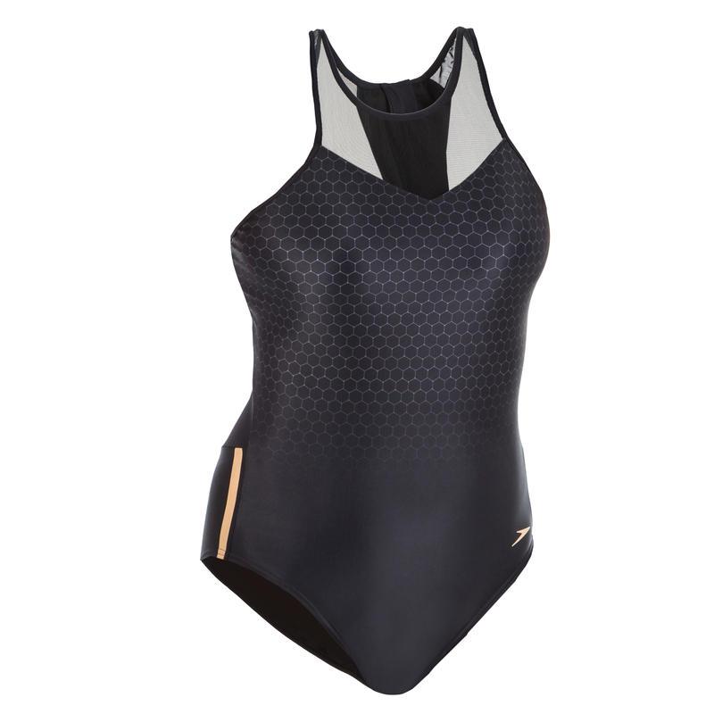 Women's aquafitness one-piece mesh panel swimsuit - Black
