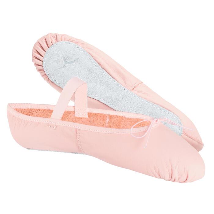 Balletschoenen leren demi-pointes met hele zool roze met koordje maat 25-40
