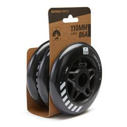 3 roues roller 110mm/86 noires