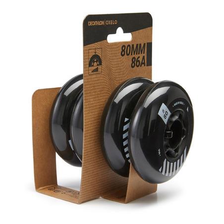 80mm 86A Freeride Inline Skating Wheels 4-Pack - Black