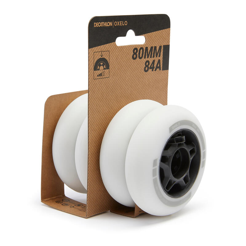 Fit Fitness Inline Skate 80mm 84A Wheels 4-Pack - White