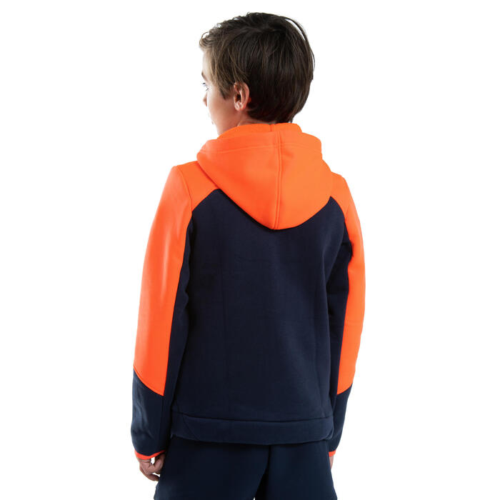 Sweat-shirt Rugby R500 Junior orange/ bleu marine