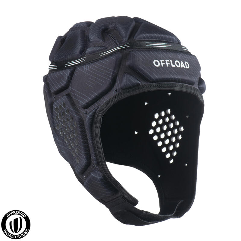 Casco Rugby Offload R500 Adulto Negro