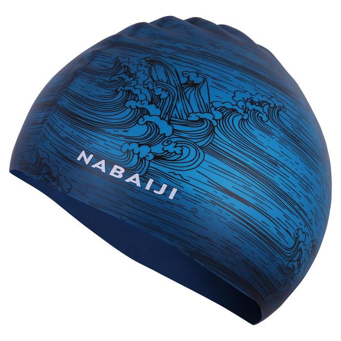 SWIMMING CAP SILICONE 500 PRINT - SEA BLUE