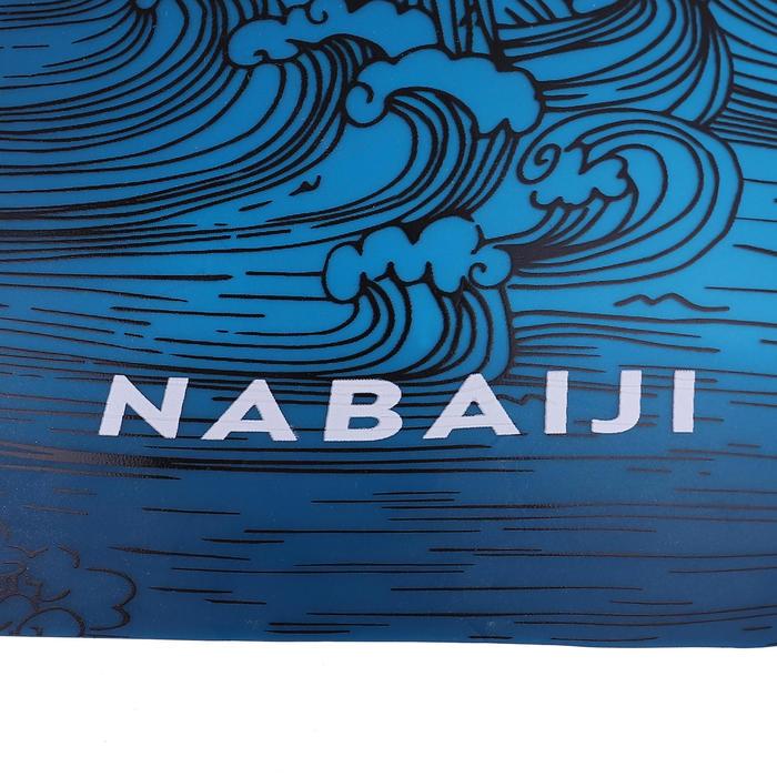 矽膠泳帽500-海浪印花藍色
