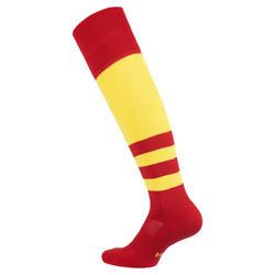 Hoge rugbysokken voor kinderen R500 rood/geel