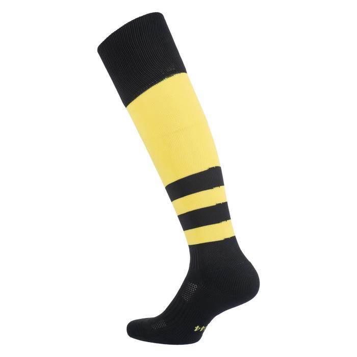 Hoge rugbysokken voor kinderen R500 zwart/geel