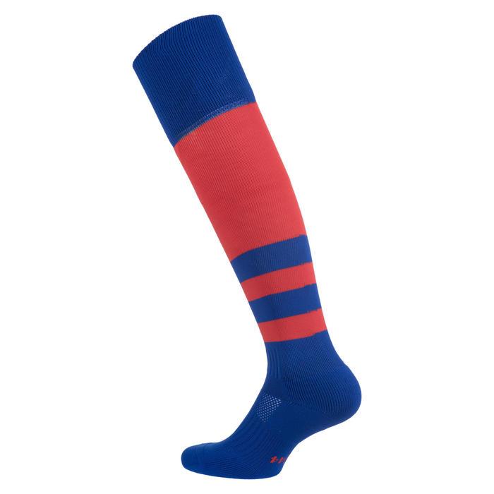 Hoge rugbysokken voor kinderen R500 rood/blauw