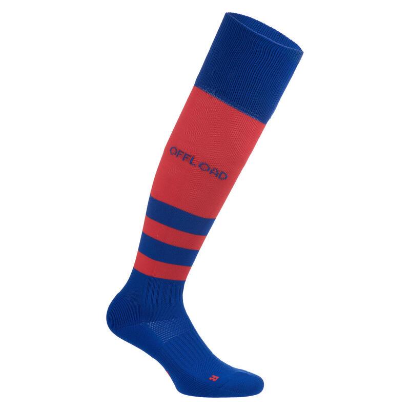 Chaussettes hautes de rugby enfant R500 rouge bleu