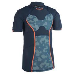 Rugby-Schulterschutz R100 Kinder blau/grau