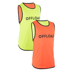 CHASUBLE RUGBY R500 Réversible Jaune Orange