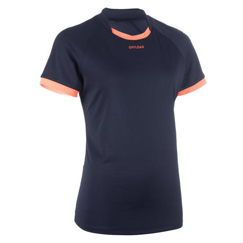 Maillot MANCHES COURTES de rugby R100 Femme Bleu marine Orange Corail