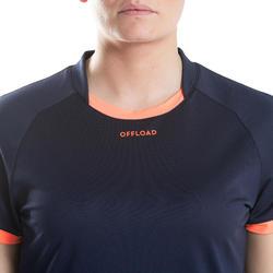 Maillot de rugby R100 Femme Bleu marine Orange Corail