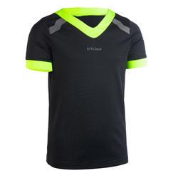 Rugbyshirt met korte mouwen voor kinderen R100 zwart/geel