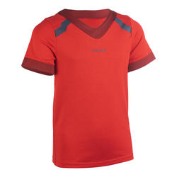 Rugbyshirt met korte mouwen voor kinderen R100 rood/bordeaux