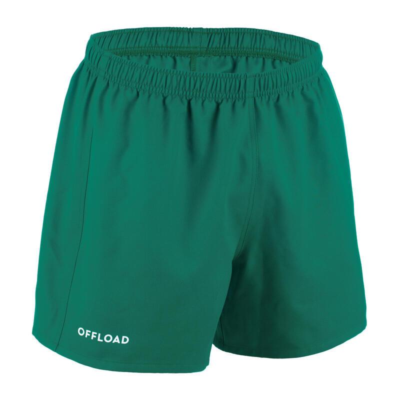 Ragbyové kraťasy bez kapes Club R100 zelené