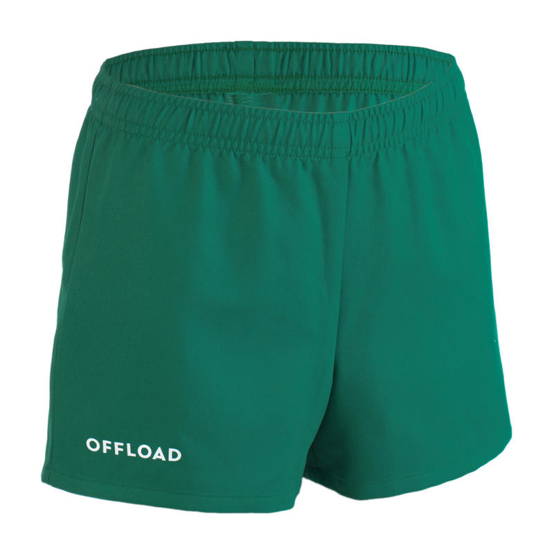 Kids' Rugby Club Pocketless Shorts R100 - Green