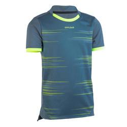Rugbyshirt met korte mouwen voor kinderen R500 grijs/geel