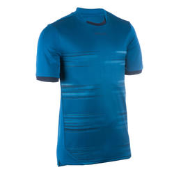 Rugbyshirt voor heren R500 korte mouwen blauw