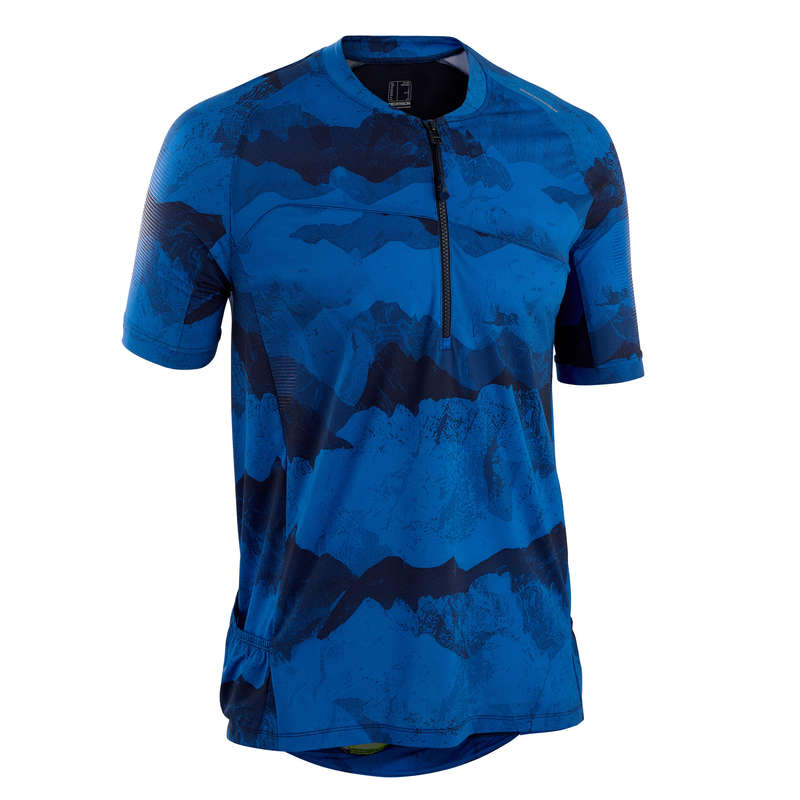 KLÄDER MTB TURÅKNING VARMT VÄDER NYBÖRJA Cykelsport - Cykeltröja MTB ST 500 blå ROCKRIDER - Cykeltröjor och T-shirts