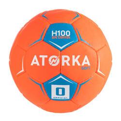 Bola de Andebol H100 Soft T0 Criança Laranja/Azul